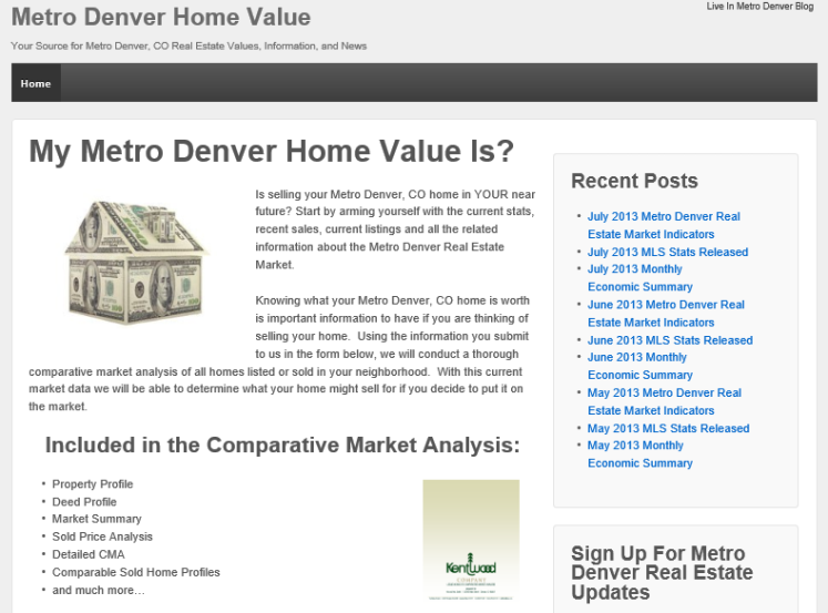 My Metro Denver Home Value Screen Snapshot