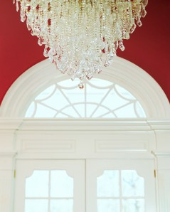 Chandelier Hanging over Entry Way