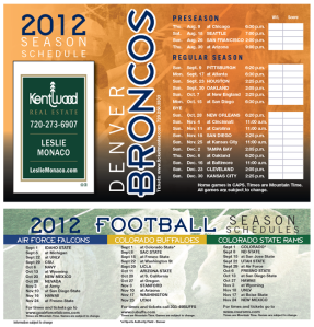 Broncos Schedule 2012